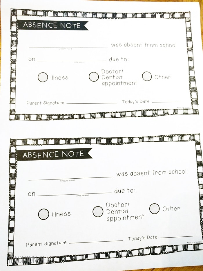 Free Printable Absence Notes for the Elementary Classroom - Teach Junkie