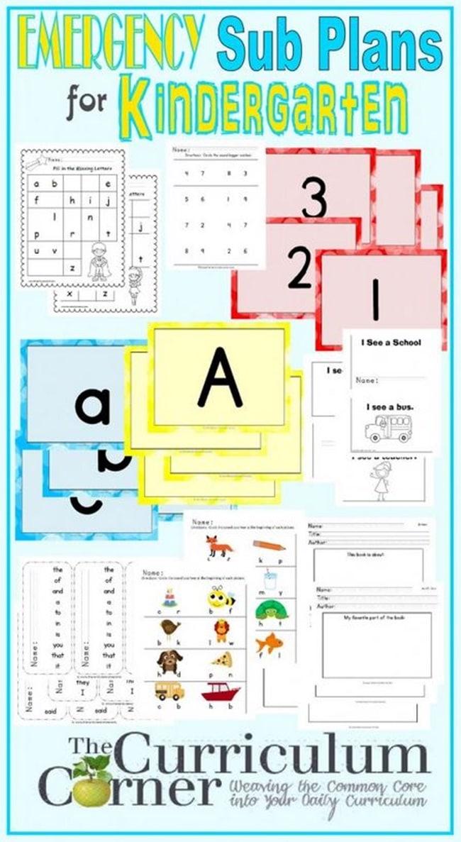 Emergency Substitute Teacher Lesson Plans Kindergarten - Teach Junkie