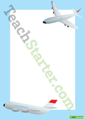 Airplane Transport Page Border - Word Template Teaching Resource - page border templates for microsoft word