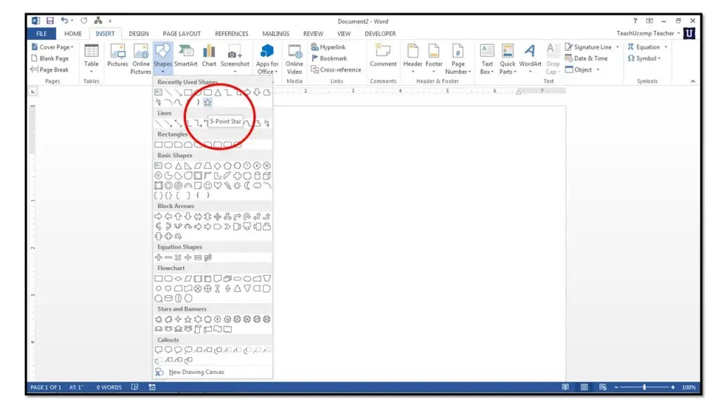 How To Insert Shapes Into Microsoft Word 2013