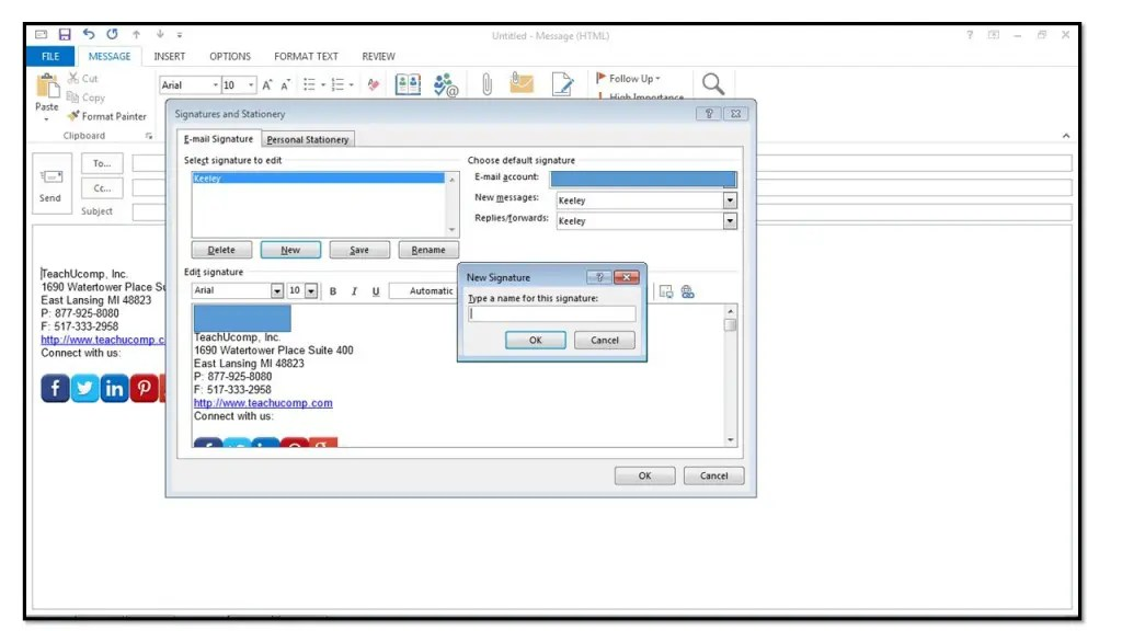 How to Add Custom Signatures in Outlook 2013 - TeachUcomp, Inc