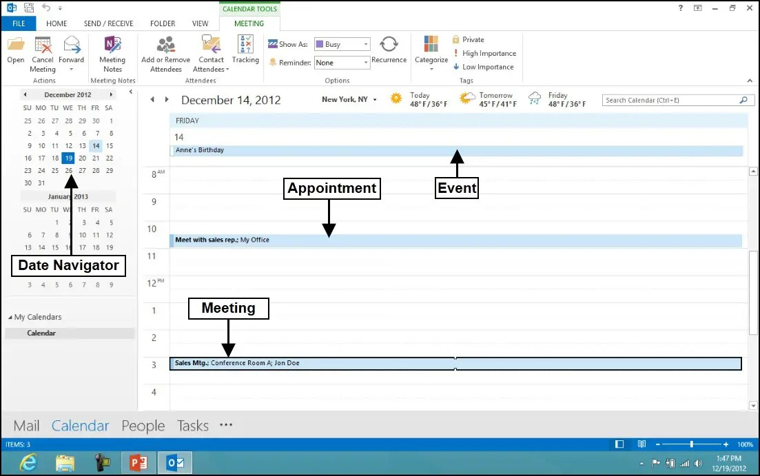 Using the Calendar Feature in Microsoft Outlook 2013