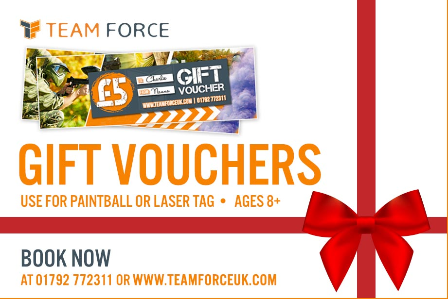 Christmas Gift Vouchers! Teamforce Paintball in Swansea, South Wales