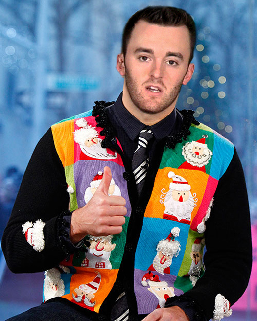 Funny Pictures of Austin Dillion Ugly Christmas Sweaters Funny NASCAR Tacky Christmas NASCAR Driver Pictures Photos Pics