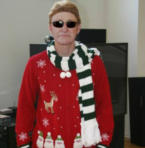 Richard Childress in his ugly christmas sweater Holiday sweater funny pictures funny nascar driver pictures photos