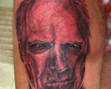 Bad Clint Eastwood Tattoo, Make my day, Worst Tattoos Ever, Funny Tattoos, Funny Pictures Horrible Tattoos Awful Tattoos, Ugliest tattoos, ugly, wtf fail, awkward Stupid tattos