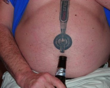 Beer Tap Tattoo on Stomach, Bad Tattoos, Worst tattoos, funny pictures, horrible, ugliest tats stupid