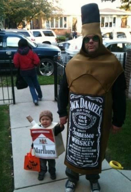 Marlboro Kid Jack Daniels Dad ~Worst Halloween Costumes: 23 Bad, Stupid & Tasteless