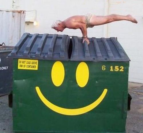 old man balancing on dumpster  worst family photos funny pictures random awkward family photos lol