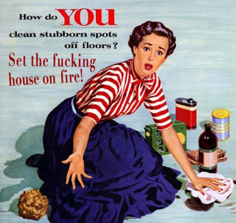 Vintage 1950's Housewife memes, funny sayings, sarcasm, e cards, funny pictures, women's humor mopping kitchen floor housework cleaning