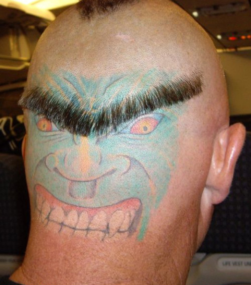 face on back of head face and eyebrow haircut like an eyebrow creepy tattoo fingers tattoos bad tattoos terrible awful ugliest tattoos wtf tattoos, horrible awkward family worst tattoos photos crazy people weird people stupid humor redneck humor photobombs