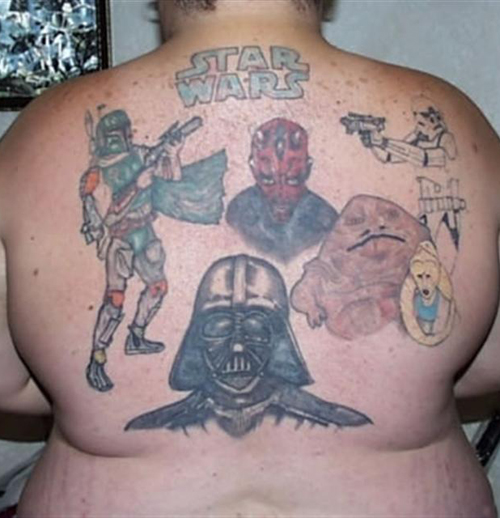 Star Wars on Back Bad Star Wars Tattoos, Worst Star Wars Tattoos, ugliest tattoos, funny tattoos, star wars convention, ugliest tattoos, worst tattoos in america, stupid people, funny pictures, wtf, fail, crazy, horrible, terrible, regrettable, regrets, awful ugly