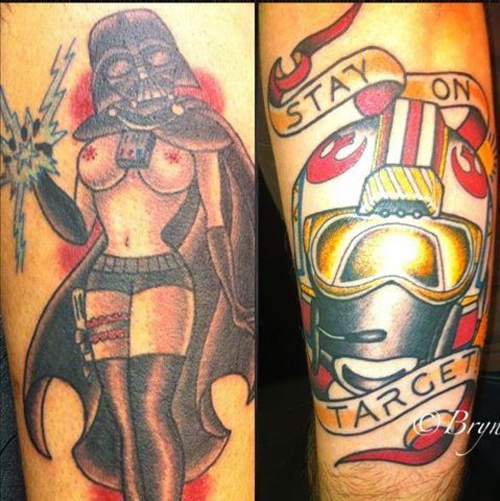Darth Vader tattoos Darth vader with woman's body boobs Bad Star Wars Tattoos, Worst Star Wars Tattoos, ugliest tattoos, funny tattoos, star wars convention, ugliest tattoos, worst tattoos in america, stupid people, funny pictures, wtf, fail, crazy, horrible, terrible, regrettable, regrets, awful ugly