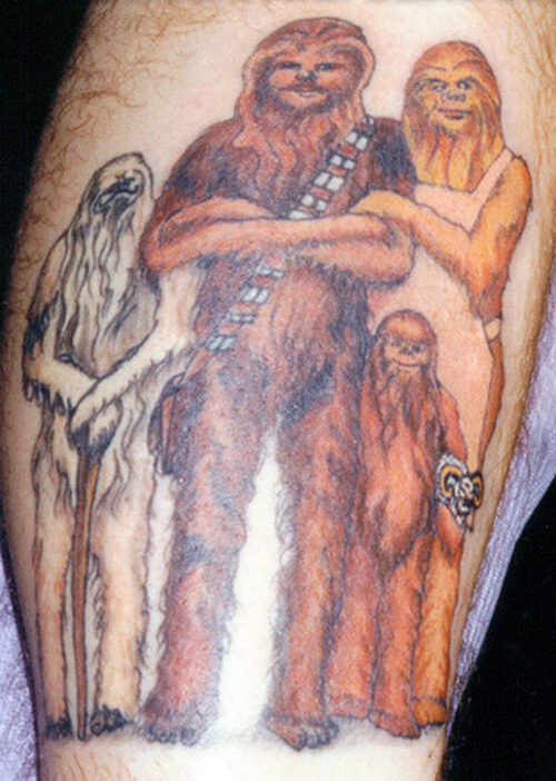 Chewbacca family Family of Chewbacca Chewie Bad Star Wars Tattoos, Worst Star Wars Tattoos, ugliest tattoos, funny tattoos, star wars convention, ugliest tattoos, worst tattoos in america, stupid people, funny pictures, wtf, fail, crazy, horrible, terrible, regrettable, regrets, awful ugly