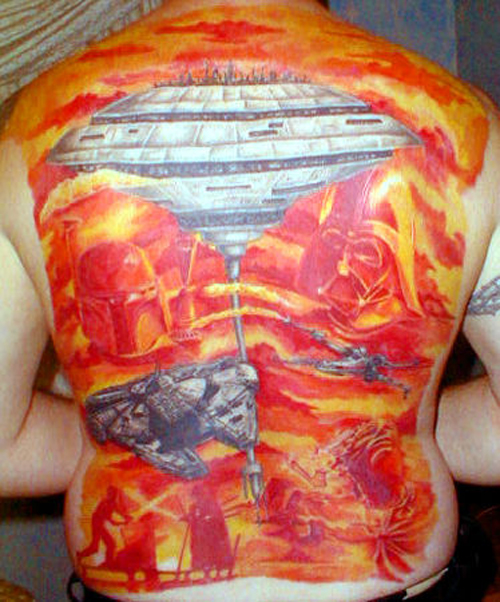 Star Wars Back Tattoo Bad Star Wars Tattoos, Worst Star Wars Tattoos, ugliest tattoos, funny tattoos, star wars convention, ugliest tattoos, worst tattoos in america, stupid people, funny pictures, wtf, fail, crazy, horrible, terrible, regrettable, regrets, awful ugly