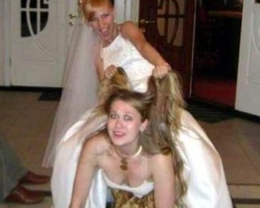 Bride on back of bridesmaid riding her down the aisle Funny Wedding Pictures Bad Wedding photos worst wedding pic ugly wedding dresses drunk bride groomsmen awkward family photos bad family bridesmaid dresses wedding receptions wedding djs russian wedding worst tattoos bad tattoos