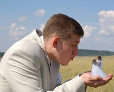 Funny Wedding Photos ~ Russian Photoshoped bride in grooms hand