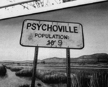 Creepy town sign: Psychoville: Population 9