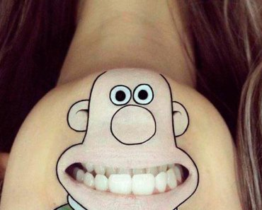 Funny Wallace & Gromit face paint on chin