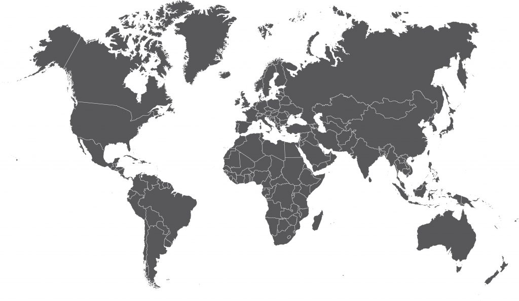 Grey world map - Team Worldwide