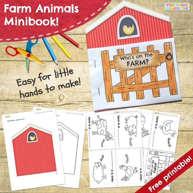 FARM ANIMALS Picture-word flashcards - Tea Time Monkeys