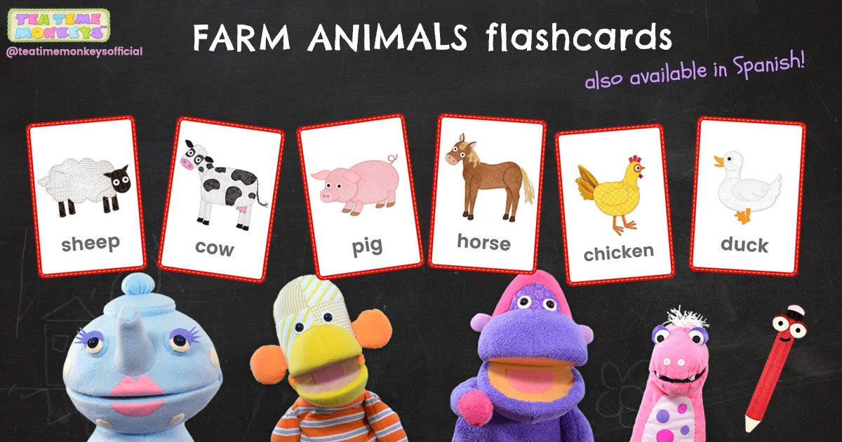 FARM ANIMALS Picture-word flashcards - Tea Time Monkeys