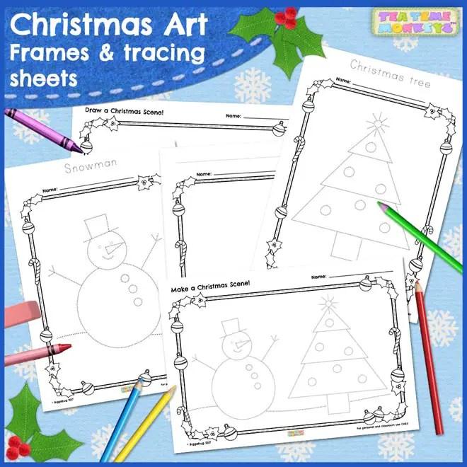 Christmas Art - Free Frames and Tracing Sheets - Tea Time Monkeys