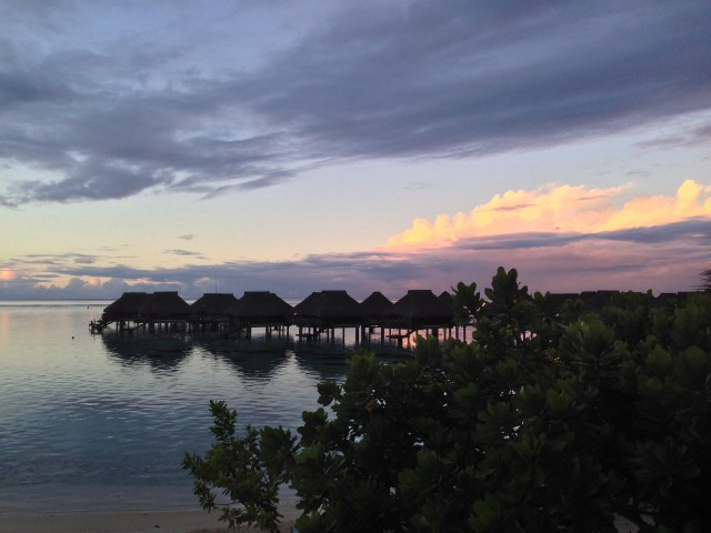 A beautiful sunset over the bungalows as we sipped pina coladas during happy hour
