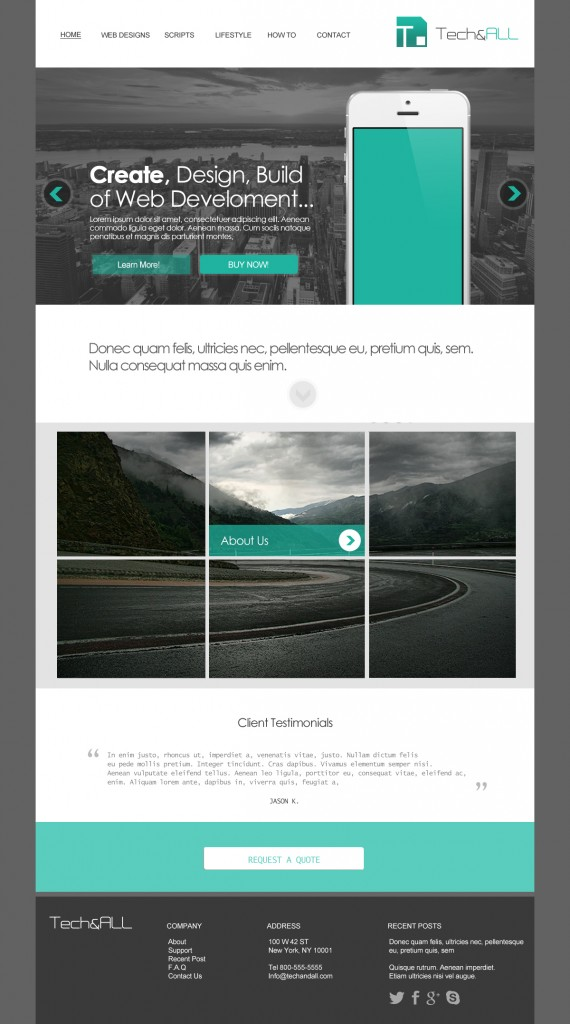 Teal Simple Website Template PSD Tech  ALL - simple website templates