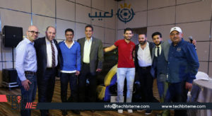 Islam Imran from Egypt, (center) who won a grand prize of a brand new Maserati Quattroporte Zegna in the 8-week long region-wide La3eeb competition finale in Dubai, UAE, poses with legendary football players