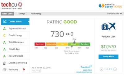 Free Credit Score & Monitoring - Tech CU