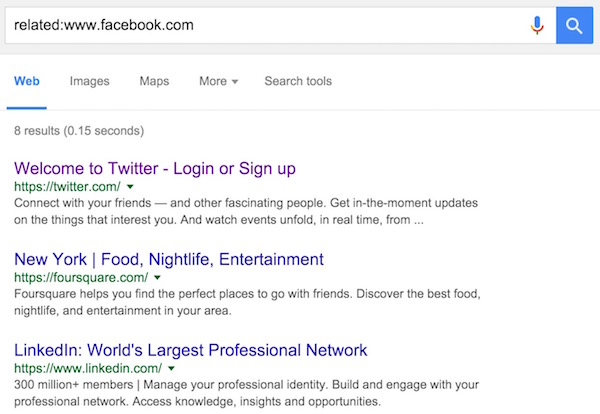Similar website in Google search