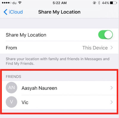 Checking contacts with location sharing