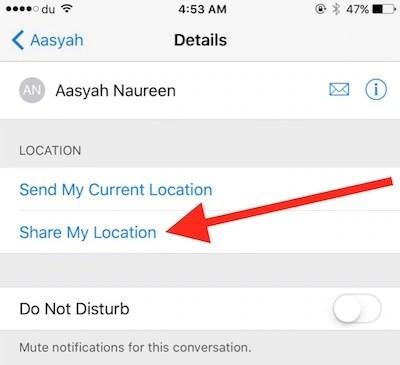 Share location step 2