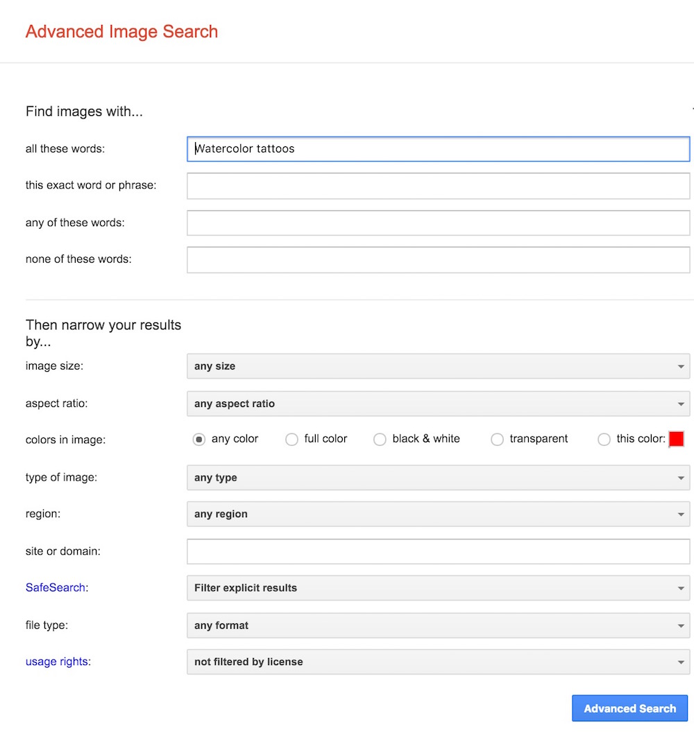 Advanced Image Search Options