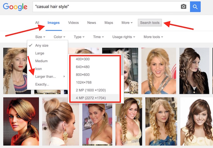 Google Image Search size