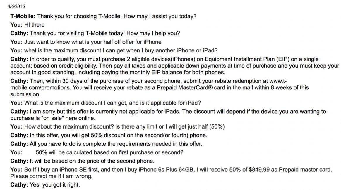 T-Mobile Chat Transcript