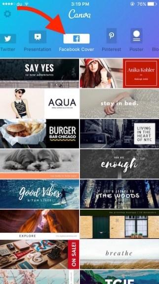 Choose FaceBook Cover Option