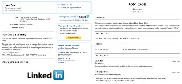 linkedin resume access