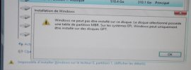Convertir une table de partition MBR en GPT lors de l'installation de Windows