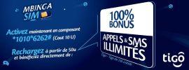 Tigo RDC : SIM Mbinga – 100% Bonus sur les Appels, SMS & Internet