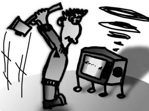 Multimedia Overload - Man Angry at his TV