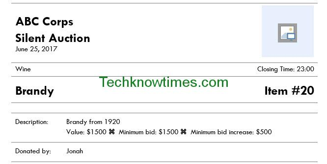 Silent Auction Bid Sheet Template Microsoft Word - sealed bid form template
