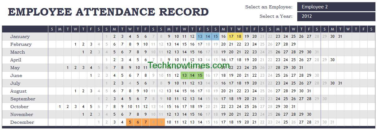 Attendance Tracker Excel Template - attendance sheet template