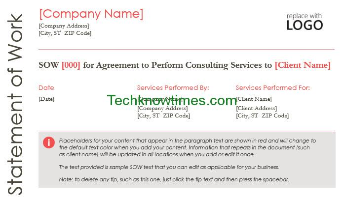 Statement of Work Template Word