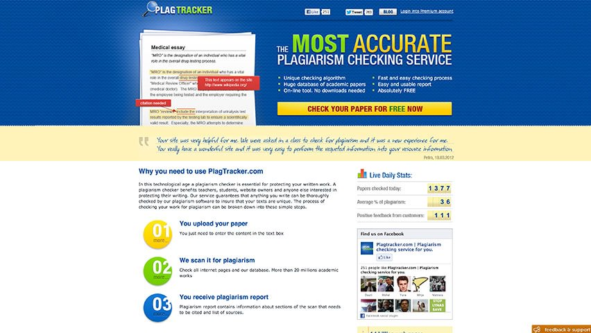 Plagtracker- The Most Accurate and Free Plagiarism Checker Tool -