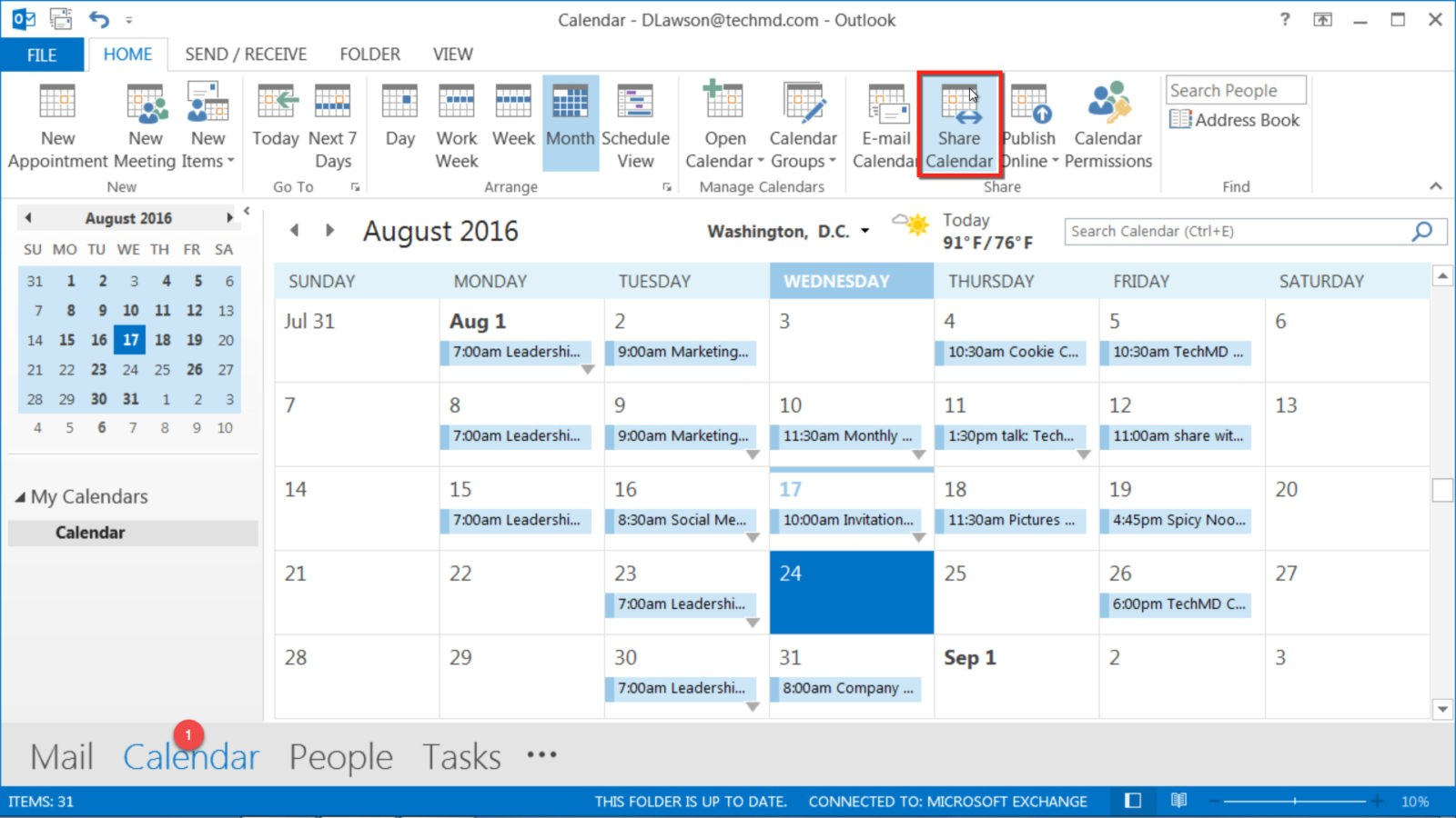 share outlook calendar