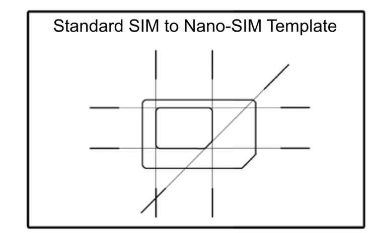Micro SIM To Nano SIM Template - SIM cutting guide - micro sim template