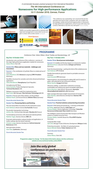 Download the conference brochure Nonwovens for High-performance