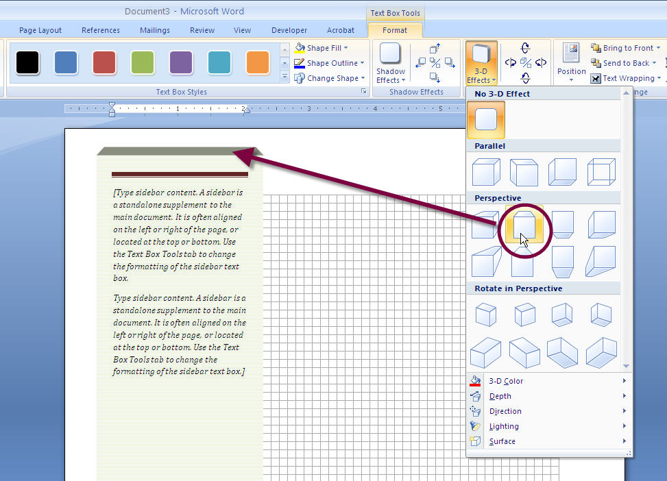 How to Add a Stylish SIDEBAR Text Box to a MS Word 2007 or Word 2010 - ms word quote template